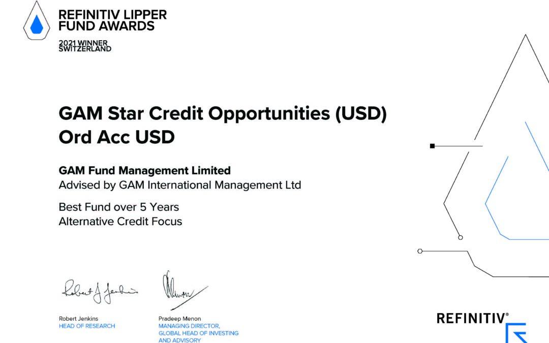 GAM Star Credit Opportunities USD has been awarded a Refinitiv Lipper Award 2021